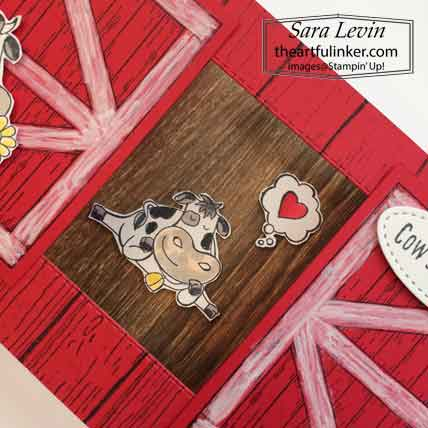 Stampin Up Barn Door Over The Moon Theater Fold card, inside cow detail. Shop for Stampin Up with Sara Levin at theartfulinker.com