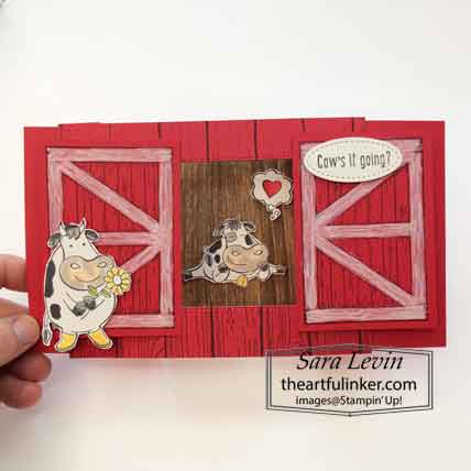 Stampin Up Barn Door Over The Moon Theater Fold card open. Shop for Stampin Up with Sara Levin at theartfulinker.com