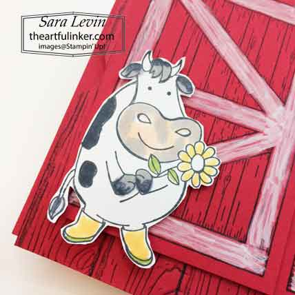 Stampin Up Barn Door Over The Moon Theater Fold card, standing cow detail. Shop for Stampin Up with Sara Levin at theartfulinker.com