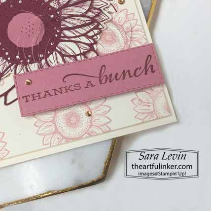Celebrate Sunflowers Sneak Peek card, sentiment detail. Shop for Stampin Up with Sara Levin at theartfulinker.com