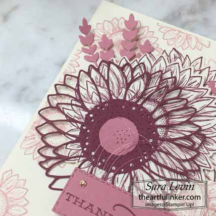 Celebrate Sunflowers Sneak Peek card, sunflower detail. Shop for Stampin Up with Sara Levin at theartfulinker.com