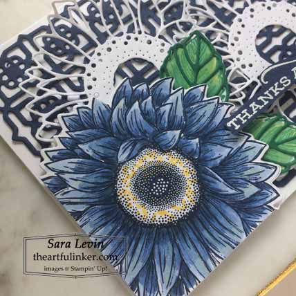 Stampin Up Celebrate Sunflowers like Crown and Ivy, colored sunflower detail, for Stamping Sunday Blog Hop Preview 2020 Annual Catalog. Shop for Stampin Up with Sara Levin at theartfulinker.com