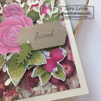 Stampin Up Christmas Rose Botanical Prints card, sentiment detail. Shop for Stampin Up with Sara Levin at theartfulinker.com