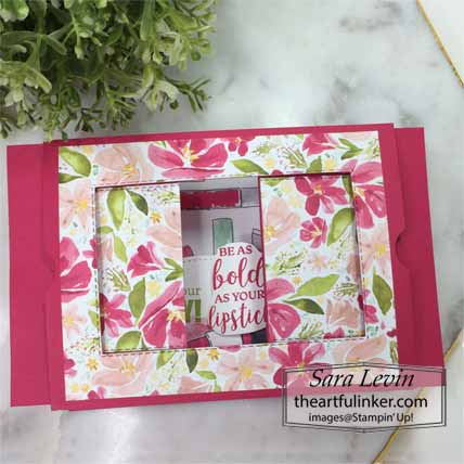 Stampin Up Dressed to Impress Theater Fold birthday card, partially open. Shop for Stampin Up with Sara Levin at theartfulinker.com