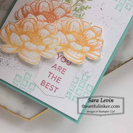 Stampin Up Tasteful Touches for The Spot Creative Challenge, detail Shop for Stampin Up with Sara Levin at theartfulinker.com