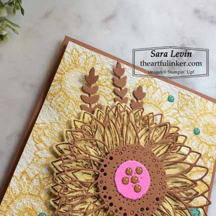 Stampin Up Celebrate Sunflowers In Color card detail for Stamping Sunday Blog Hop New In Colors 2020 Shop for Stampin Up with Sara Levin at theartfulinker.com