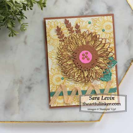 Stampin Up Celebrate Sunflowers In Color card for Stamping Sunday Blog Hop New In Colors 2020 Shop for Stampin Up with Sara Levin at theartfulinker.com