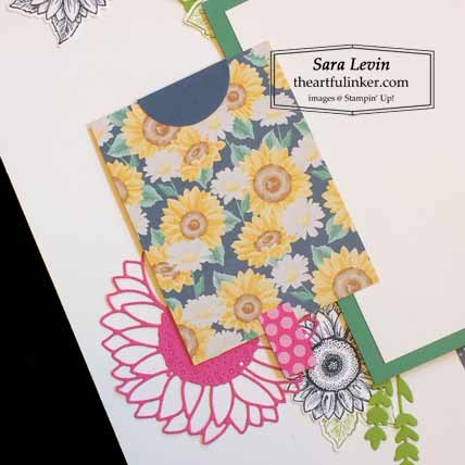 Stampin Up Celebrate Sunflowers scrapbook page with Flowers for Every Season journaling card for Scrapbooking Global June 2020 Blog Hop Shop for Stampin Up with Sara Levin at theartfulinker.com
