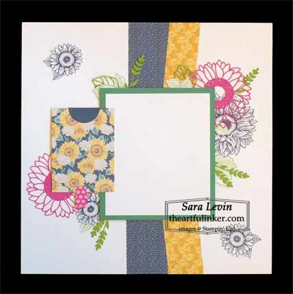 Stampin Up Celebrate Sunflowers scrapbook page for Scrapbooking Global June 2020 Blog Hop Shop for Stampin Up with Sara Levin at theartfulinker.com