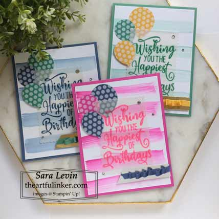 Stampin Up Happiest of Birthdays In Color cards for Stamping Sunday Blog Hop New In Colors 2020 Shop for Stampin Up with Sara Levin at theartfulinker.com