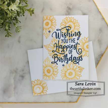 Stampin Up Happiest of Birthdays and Celebrate Sunflowers simple In Color birthday card for Stamping Sunday Blog Hop New In Colors 2020 Shop for Stampin Up with Sara Levin at theartfulinker.com