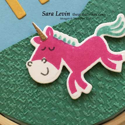 Stampin Up Hippo Happniess embroidery hoop decor, unicorn detail, for Home Decor SU Style Blog Hop June 2020 Shop for Stampin Up with Sara Levin at theartfulinker.com