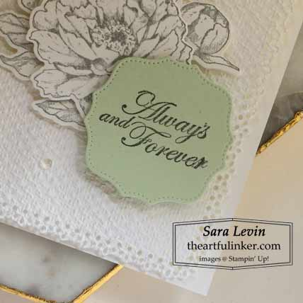 Stampin Up Prized Peony wedding card, Forever Blossom Hippo and Friends die sentiment Shop for Stampin Up with Sara Levin at theartfulinker.com