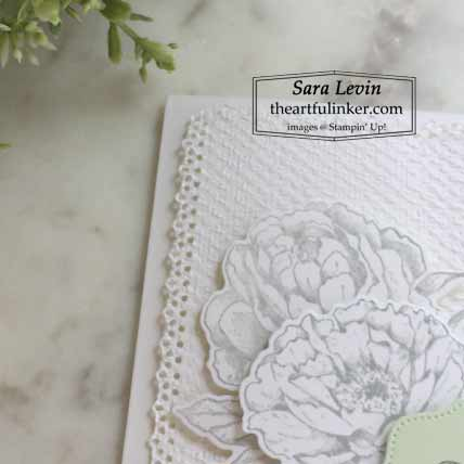 Stampin Up Prized Peony wedding card, Tasteful Textile Embossing Shop for Stampin Up with Sara Levin at theartfulinker.comh Sara Levin at theartfulinker.com