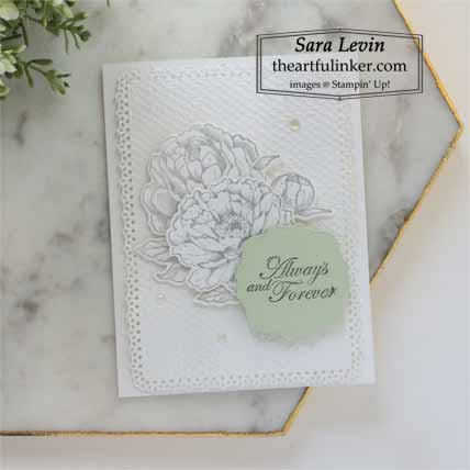 Stampin Up Prized Peony wedding card Shop for Stampin Up with Sara Levin at theartfulinker.com