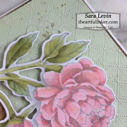 Stampin Up Prized Peony card peony detail for OSAT Blog Hop New Review Shop for Stampin Up with Sara Levin at theartfulinker.com