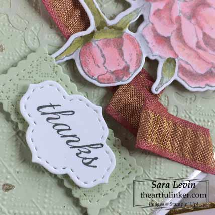 Stampin Up Prized Peony card sentiment detail for OSAT Blog Hop New Review Shop for Stampin Up with Sara Levin at theartfulinker.com