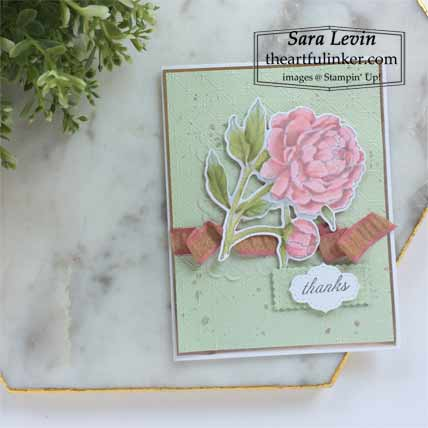 Stampin Up Prized Peony card for OSAT Blog Hop New Review Shop for Stampin Up with Sara Levin at theartfulinker.com