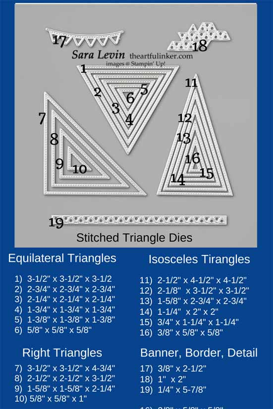 Stampin Up Stitched Triangle Dies size Chart Shop for Stampin Up with Sara Levin at theartfulinker.com