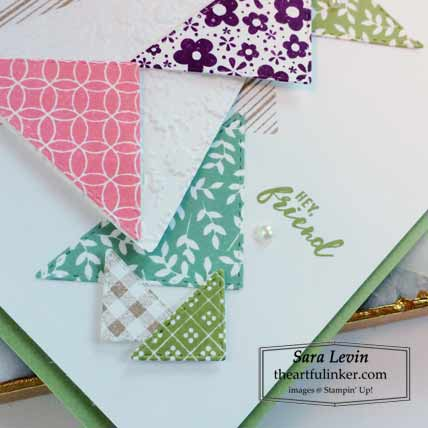Stampin Up The Right Triangle Hey Friend card sentiment detail Shop for Stampin Up with Sara Levin at theartfulinker.com