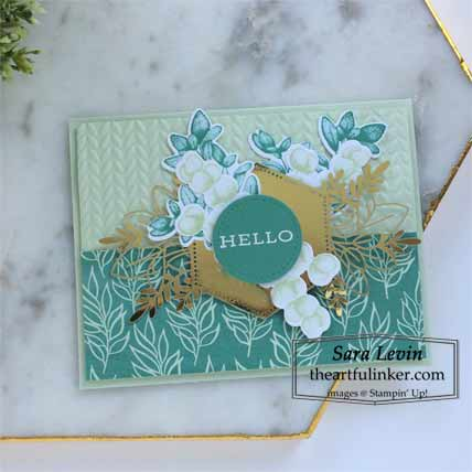 Stampin Up Forever Fern card in Just Jade and Soft Sea Foam for Stamping Sunday Blog Hop Forever Greenery Shop for Stampin Up with Sara Levin at theartfulinker.com