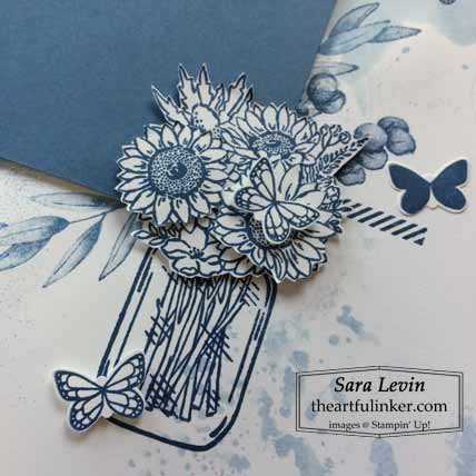 Stampin Up Jar of Flowers scrapbook layout, jar of flowers detail, theme for Scrapbooking Global July 2020 Blog Hop Shop for Stampin Up with Sara Levin at theartfulinker.com