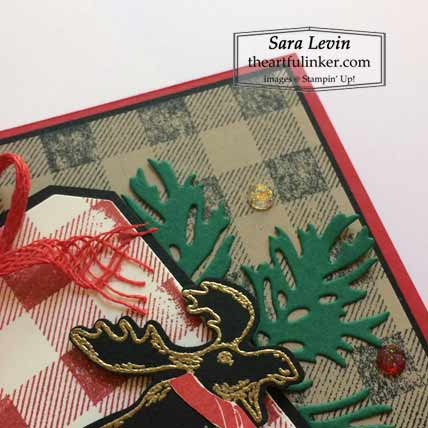 Stampin Up Merry Moose plus Christmas, layering detail card Shop for Stampin Up with Sara Levin at theartfulinker.com