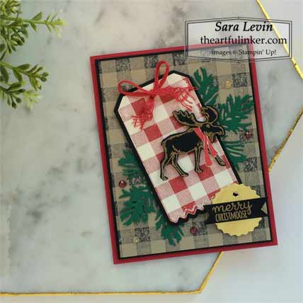 Stampin Up Merry Moose plus Christmas card Shop for Stampin Up with Sara Levin at theartfulinker.com