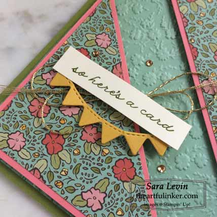 Ornate Thanks split angle card, sentiment detail Shop for Stampin Up with Sara Levin at theartfulinker.com