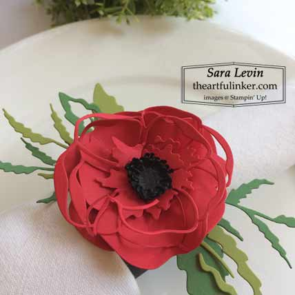 Stampin Up Poppy Moments napkin ring detail for Home Decor SU Style Blog Hop July 2020