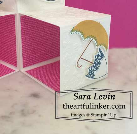 Stampin Up Pretty Parsol Triple Pop Up Cube card, detail, for Creation Station Blog Hop In Color Combos Shop for Stampin Up with Sara Levin at theartfulinker.com
