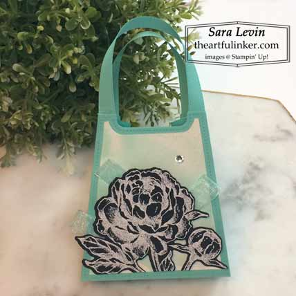Stampin Up Prized Peony purse favor for Stamping Sunday Blog Hop Peony Garden Shop for Stampin Up with Sara Levin at theartfulinker.com