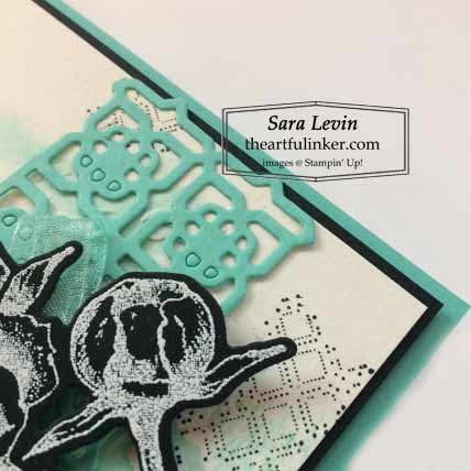 Stampin Up Prized Peony with watercolor background card, detail, for Stamping Sunday Blog Hop Peony Garden Shop for Stampin Up with Sara Levin at theartfulinker.com