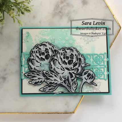 Stampin Up Prized Peony with watercolor background card for Stamping Sunday Blog Hop Peony Garden Shop for Stampin Up with Sara Levin at theartfulinker.com