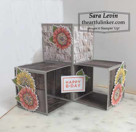 Triple Pop Up Cube Card with Celebrate Sunflowers Shop for Stampin Up with Sara Levin at theartfulinker.com