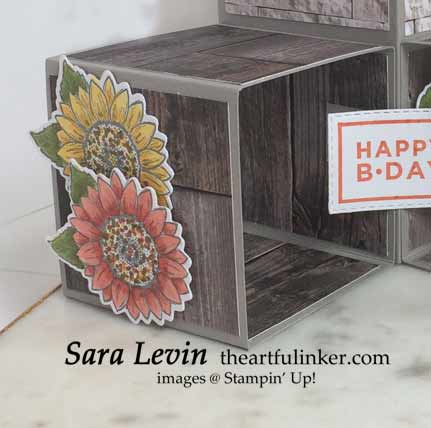 Triple Pop Up Cube Card with Celebrate Sunflowers detail Shop for Stampin Up with Sara Levin at theartfulinker.com