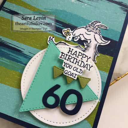 Stampin Up Way To Goat Pop Up masculine birthday card, detail Shop for Stampin Up with Sara Levin at theartfulinker.com
