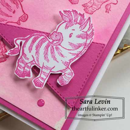 Stampin Up Zany Zebras in Magenta Madness for OSAT Blog Hop Pretty in Pink, detail Shop for Stampin Up with Sara Levin at theartfulinker.com