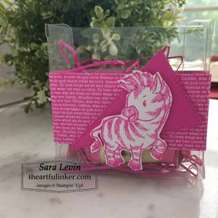 Stampin Up Zany Zebras quick and easy favor for OSAT Blog Hop Pretty in Pink Shop for Stampin Up with Sara Levin at theartfulinker.com