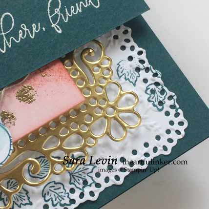 Stampin Up Autumn Greetins with embossed details card, detail Shop for Stampin Up with Sara Levin at theartfulinker.com