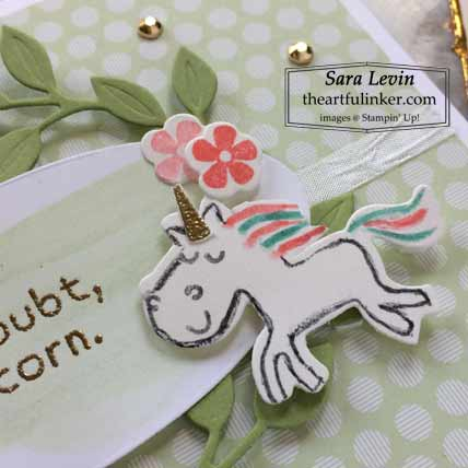 Be a Unicorn card detail for Creation Station Blog Hop Where the Wild Things Are Shop for Stampin Up with Sara Levin at theartfulinker.com