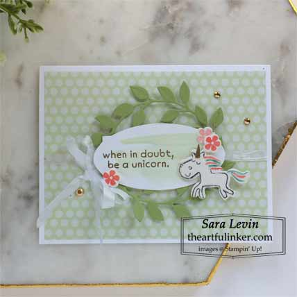 Stampin Up Be a Unicorn card for Creation Station Blog Hop Where the Wild Things Are Shop for Stampin Up with Sara Levin at theartfulinker.com