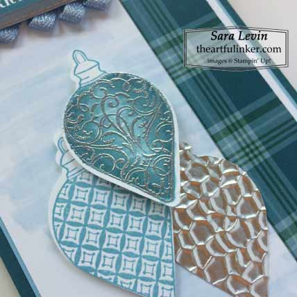 Christmas Gleaming Plaid Tidings slimline Christmas card ornament detail for Stamping Sunday Blog Hop Plaid Tidings Shop for Stampin Up with Sara Levin at theartfulinker.com