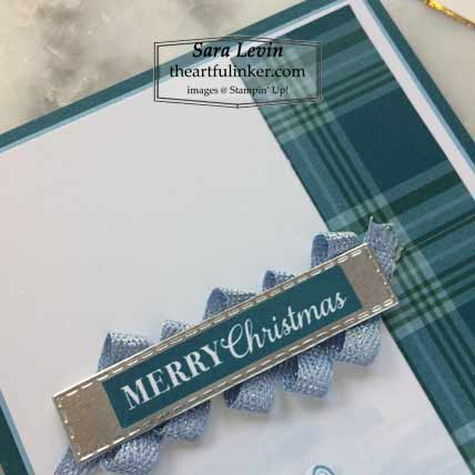 Christmas Gleaming Plaid Tidings slimline Christmas card sentiment detail for Stamping Sunday Blog Hop Plaid Tidings Shop for Stampin Up with Sara Levin at theartfulinker.com