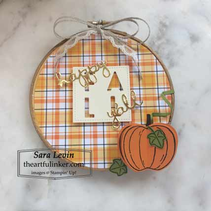 Harvest Hellos Happy Fall y'all home decor using Plaid Tidings for Stamping Sunday Blog Hop Plaid Tidings Shop for Stampin Up with Sara Levin at theartfulinker.com