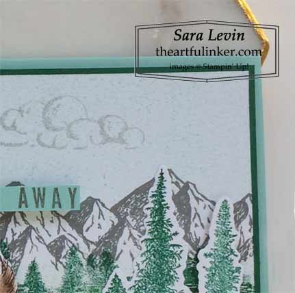 Mountain Air Slimline Stampscape card, detail Shop for Stampin Up with Sara Levin at theartfulinker.com