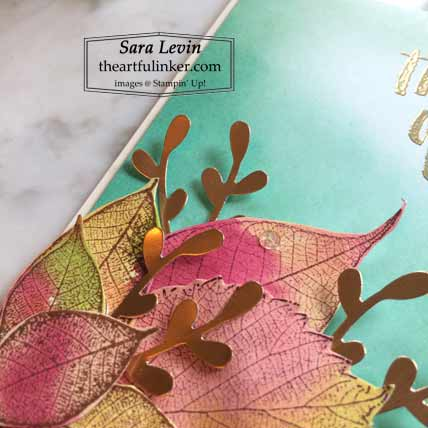 Stampin Up Rooted in Nature Fall Thinking of You card, leaves detail, with blended background Stampin Up Loyal Leaves and Rooted in Nature Shop with Sara Levin at theartfulinker.com