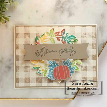 Stampin Up Arrange a Wreath card with Faux Watercolor technique Shop for Stampin Up with Sara Levin at theartfulinker.com