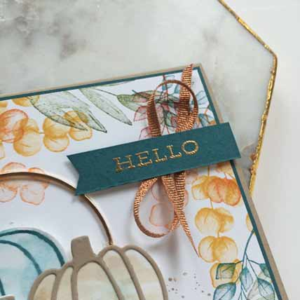 Stampin Up Forever Fern Harvest Hellos card detail Shop for Stampin Up with Sara Levin theartfulinker.com
