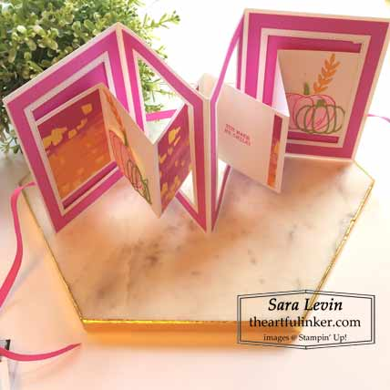 Stampin Up Harvest Hellos accordion card, open standing Shop for Stampin Up with Sara Levin at theartfulinker.com